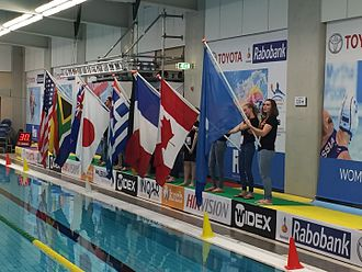 2016 Women's Water Polo Olympic Games Qualification Tournament - Flags of participating nation during the opening ceremony