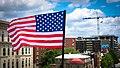 2017.07.02 Rainbow and US Flags Flying Washington, DC USA 7204 (34831750794).jpg