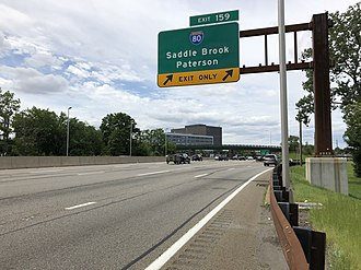Saddle Brook, New Jersey - View south along the Garden State Parkway at the exit for Interstate 80 in Saddle Brook