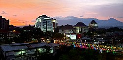 Malang cityscape at dusk