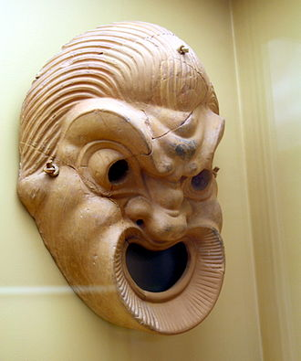 Ancient Greek comedy - Terracotta comic theatre mask, 4th/3rd century BC (Stoa of Attalus, Athens)