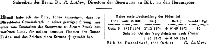File:37 Fides - Letter announcing name and symbol - Astronomische Nachrichten vol.42 col.107.png