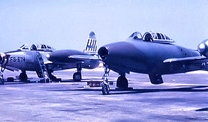 492d Fighter Squadron - 492d FS F-84G-2-RE Thunderjet - 51-9674. Also note 492d FS F-84G in experimental camouflage motif