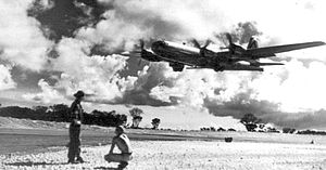 501st Bombardment Group B-29 takeoff Northwest Field Guam 1945.jpg