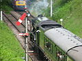 60163 Tornado on the West Somerset Railway approaching Crowcombe Heathfield station 13 June 2009.jpg