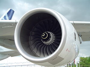 Economy of the United Kingdom - A Rolls-Royce Trent 900 aircraft jet engine, seen here on an Airbus A380
