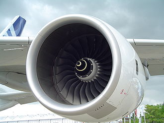 Manufacturing in the United Kingdom - A Rolls-Royce Trent 900 engine on the wing of an Airbus A380.