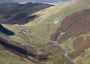 A470 road - The A470 snaking across Bwlch Oerddrws seen from Maesglase