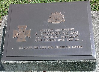 Lae War Cemetery - Photo of A Chowne headstone. VC recipient at Lae War Cemetery