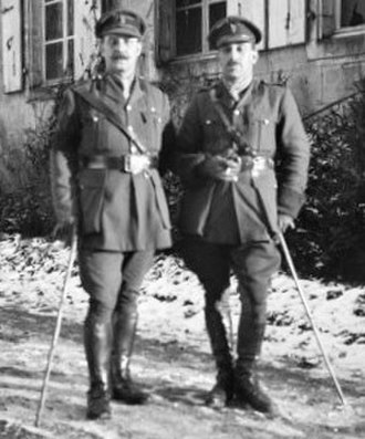 George Wootten - Samer, France, 16 December 1917. Major George Wootten DSO (right) at the time a staff officer with the 5th Division.