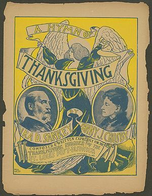 "Ira D. Sankey - ""A Hymn of Thanksgiving"" sheet music cover - November 26, 1899"
