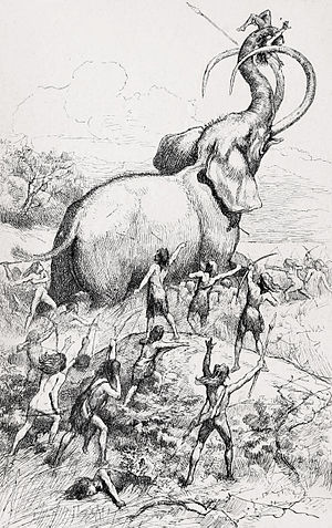 Control of fire by early humans - Fanciful restoration of a Columbian mammoth hunted by Palaeoamericans (Children's book cover 1885)
