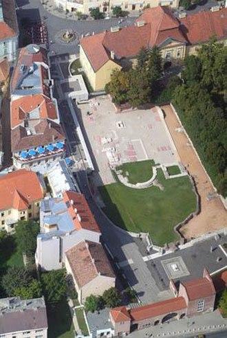 Székesfehérvár Basilica - Aerial view of the ruins