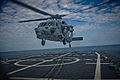 A U.S. Navy MH-60R Seahawk helicopter lands during flight operations March 17, 2014, on the flight deck of the guided missile frigate USS Samuel B. Roberts (FFG 58) in the Atlantic Ocean 140317-N-KT328-030.jpg