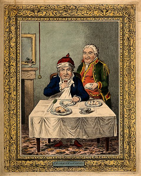 File:A convalescing man happily eating a meal, assisted by his gr Wellcome V0011200.jpg