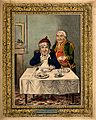 A convalescing man happily eating a meal, assisted by his gr Wellcome V0011200.jpg