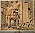 A dentist in his surgery with patient at Camp Douglas. Pen d Wellcome V0012099.jpg