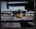 A fast, hard-hitting new A-20 (i.e., B-25) attack bomber is brought for a test hop to the flight line at the Long Beach, Calif., plant of Douglas Aircraft Company LCCN2017878922.jpg