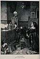 A jester contemplates a skeleton. Reproduction of a wood eng Wellcome V0042234.jpg