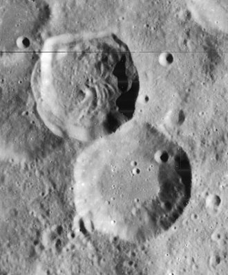 Abenezra (crater) - Lunar Orbiter 4 image of Abenezra crater (upper left) and Azophi crater (lower right)