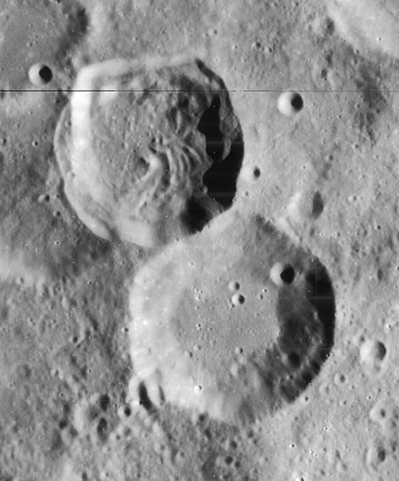 Lunar Orbiter 4 image of Azophi crater (lower right) and Abenezra crater (upper left)