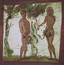 An earlier catacomb wall art, depicting Adam and Eve from the Old Testament.