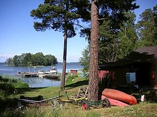 Adelsö island in the middle of Lake Mälaren in Sweden