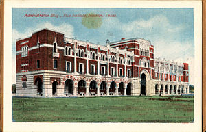 Rice University - Administration Building, Rice Institute, Houston, Texas (postcard, circa 1912-1924)
