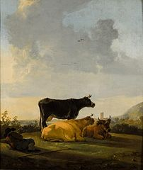 Landscape with three cows and a cowherd