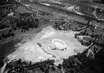 Aerial photo looking SW at Memorial Amphitheater under construction - Arlington National Cemetery - Arlington County VA USA - 1919.jpg