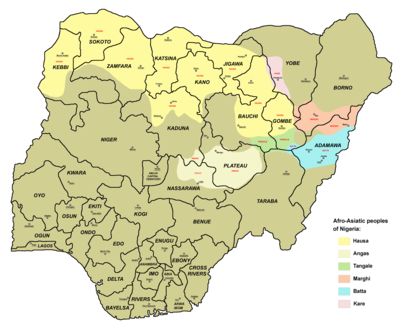 Main Chadic-speaking peoples in Nigeria.