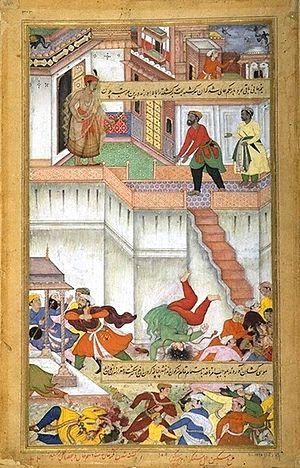 Adham Khan - Akbar orders punishment of Adham Khan, by throwing him twice, down the terrace. Akbarnama