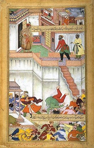 Ataga Khan - Akbar orders punishment of Adham Khan for murdering Ataga Khan, by throwing him twice down the terrace. Akbarnama, ca. 1590-95