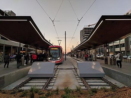 Alinga Street Light Rail Station, City Interchange Alinga Street light rail stop at sunset May 2019.jpg