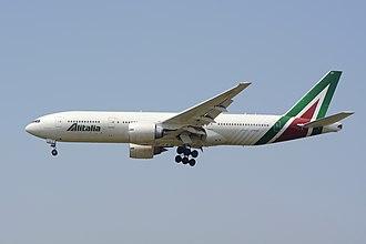 Alitalia - Alitalia Boeing 777-243ER landing at Tokyo Narita Airport.