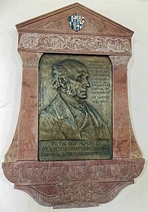 Sir Harry Verney, 2nd Baronet - Sir Harry Verney tablet in All Saints Church, Middle Claydon