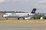 Alliance Airlines (VH-FKD) Fokker 100 taxiing at Wagga Wagga Airport.jpg