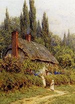 Allingham Helen Children On A Path Outside A Thatched Cottage West Horsley Surrey.jpg