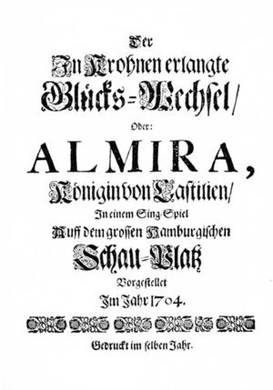 Almira - Title page of the libretto