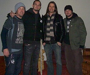 Myles Kennedy - Kennedy (right center) with his Alter Bridge band mates in 2008.