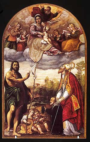 Pomponio Amalteo - Pomponio Amalteo, Virgin in Glory with San Juan Bautista, San Tiziano and donor, 1563