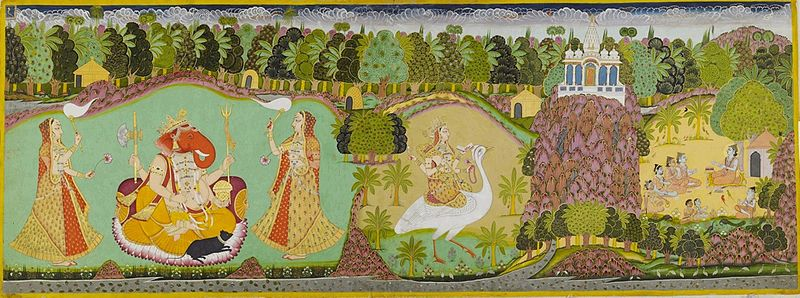 File:Amardas Bhatti (attr.) Ganesha, Saraswati and Jallandharnath, Marwar, ca. 1825, Mehrangarh Museum Trust..jpg