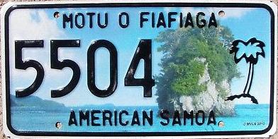 American Samoa license plate 2011 5504
