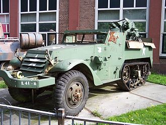 M16 Multiple Gun Motor Carriage - A damaged M16 Half-track at a German museum in 2004
