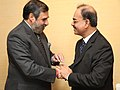 Anand Sharma with his Bangladeshi counterpart, Mr. Muhammad Faruk Khan, at the SAARC Ministerial meeting, on the sidelines of the 8th Ministerial Conference of WTO, at Geneva on December 14, 2011.jpg