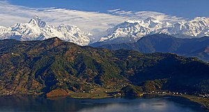 The Anapurna range from above Pokhara, Nepal. ...