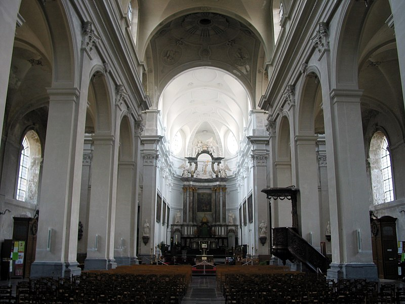 Andenne (Belgium),  internal of the St. Begge collegiate church (Nave and choir - 1773).
