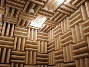 Acoustic quieting - A sound proof room, showing acoustic damping tiles used for noise absorption and soundproofing.