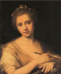 Self-portrait with flower-wreath