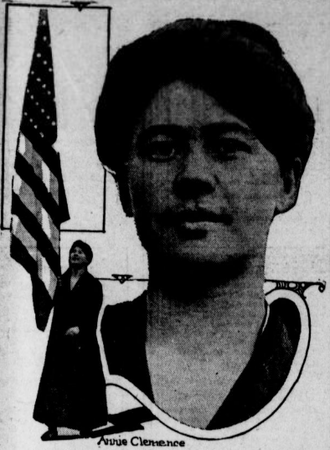 Anna Clemenc - Clemenc carrying her flag and a head shot